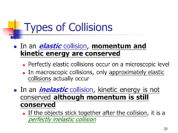 types of collisions in an elastic collision momentum and kinetic energy are conserved perfectly