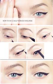 pictorial how to do a half winged eyeliner