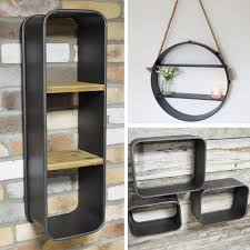 details about industrial metal cube wall shelves distressed finish storage shelf storage unit