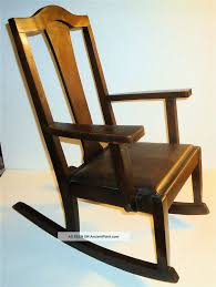 arts crafts or mission style childs antique wood rocking chair w leather seat
