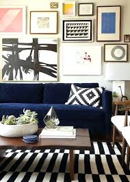 emily henderson rugs living room love the mix of colors striped rug blue couch modern art