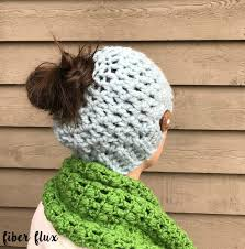Bun Hat Pattern Custom Fiber Flux Free Crochet PatternChunky Messy Bun Hat