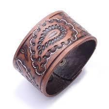 Kirykle New Brown Black <b>vintage genuine leather</b> bangles <b>Wide</b> ...