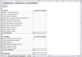 8 Personal Financial Statement Excel - Tripevent.co