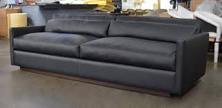 dexter leather sofa in jet black ink 108 inch front angle view