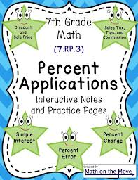 Percent Applications - Notes, Task Cards, Worksheets, And Assessment ...
