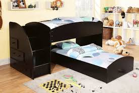 Low Bunk Bed For Kids With L Shaped In Black Decofurnish