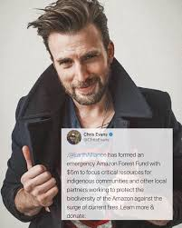 Chris made a post on his official twitter account about the fires of the  Amazon Forest you can donate through the link in my story!.teamcevans is  sharing inst…