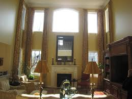 Living Room Window Designs Tall Window Treatments I Like The Simple Rods But Would Prefer A