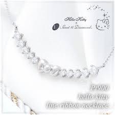 genuine set ten diamonds hello kitty diamond line ribbon pendant platinum gold pt900 las women las ring pendant necklace gifts birthday
