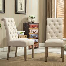 com roundhill furniture habit solid wood tufted parsons dining chair set of 2 tan chairs