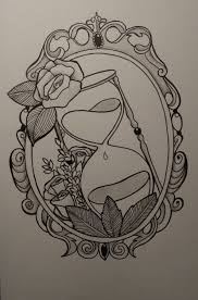 fancy hand mirror drawing. i would love something like this on the back of my legs. one leg with a tea pot and other cup, both in vintage frames this. fancy hand mirror drawing