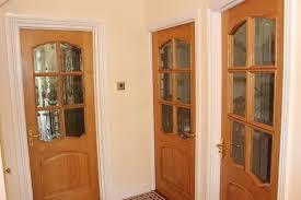 oak internal door with bevelled glass