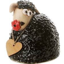 sheep with wooden heart black