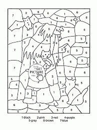 Small Picture Color by Number Halloween coloring page for kids education