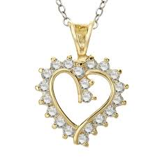 details about heart pendant with cubic zirconia in 14k gold plate