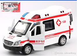 2019 alloy car model toy ambulance police car patrol wagon with light sound pull back kid birthday party gift collecting home decoration from