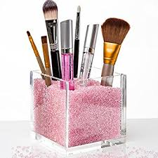 Acrylic Makeup Organizer & Makeup Brush Holders with PINK Diamonds. The #1  Gift for