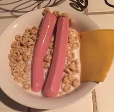 this reddit user described their disgusting looking cereal and sausage creation as gourmet pork