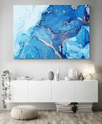 abstract wall art blue gold art print
