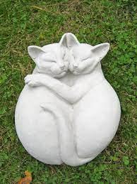 concrete cat statue cuddling life size