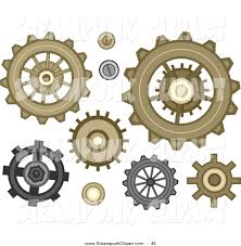 Vector Clip Art of Gear Cog Designs in Steampunk Style