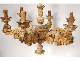 chandelier 7 lights carved wood gilded heads characters flowers decoration nineteenth