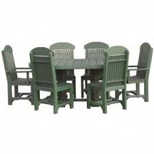 wicker bar height dining table: amish lux poly wood oval table set with two captain chairs and four