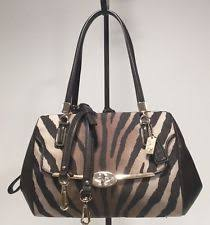 COACH  278 Madison Zebra Print Madeline East West Satchel Xbody 26634 BROWN