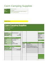 Excel Lab Cairn Camping Cairn Camping Supplies Author Date