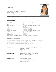 sample resume personal information examples of resumes