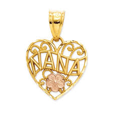 14k two tone gold nana filigree heart pendant 15mm