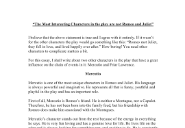 mercutio and friar lawrence character study gcse english document image preview