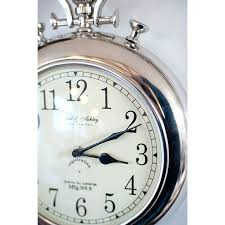 large silver wall clock silver pocket watch wall clock black skeleton wall clock with large silver numbers