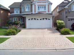 Exterior:Permeable Landscaping Driveway Falls With Brick Paver Also Green  Grass Cover Beautiful Driveway Landscaping