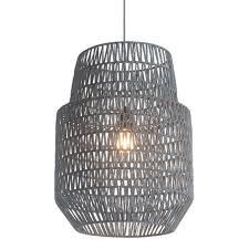new gray woven basket style pendant chandelier light fixture modern rustic