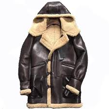 mens genuine shearling coats hooded personality leather jacket luxurious warmth