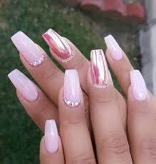 Pink chrome accent nail with Swarovski crystals; start creating ...