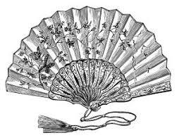 hand fan drawing. victorian ladies fan, vintage hand fan drawing