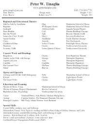 Musical Theatre Cv Template How To Write A Resume Free Actor Bio