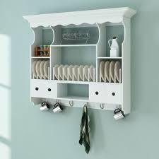 wall dish rack white wooden kitchen