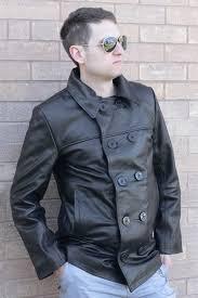 black leather us navy pea coat insert