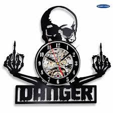 виниловая пластинка настенные часы череп татуировки эскиз декора уникальный