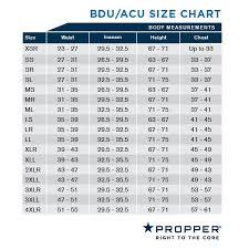 Nato Clothing Size Chart Propper Uniform Bdu Trouser