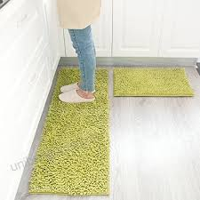 maxyoyo kitchen rug 2 pieces set green chenille rug for kitchen non slip washable runner rug