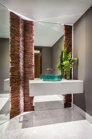 Modern Powder Room with High ceiling, Custom Mirrors, Bianco Venatino  Marble, Limestone counters