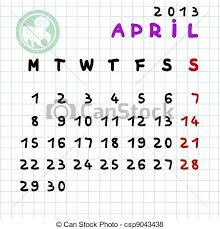 Monthly Calendar 2013 April 2013
