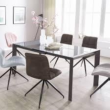 Esszimmertisch Noble 122 182 Cm Ausziehbar Dunkelgrau Metall Glas Tisch Für Esszimmer Rechteckig Küchentisch 4 8 Personen Design Esstisch