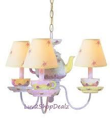 teapot chandelier lamp tea party princess ceiling lighting white pink fl