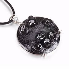 black obsidian carved crystal skull pendant necklace jewelry s857
